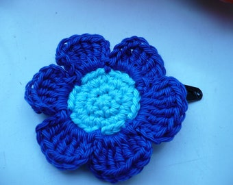 hair Barrette with blue crochet cotton flower