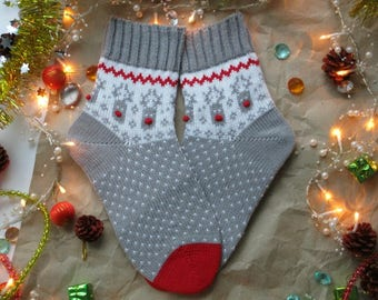 Grey white red Rudolf deer bright colours New year Christmas Scandinavian pattern rustic autumn winter knit wool socks present giftknitting