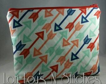 Zipper Pouch Arrows 7x9, Arrows zipper pouch, Arrows makeup bag, Arrows travel bag, Arrows purse organizer
