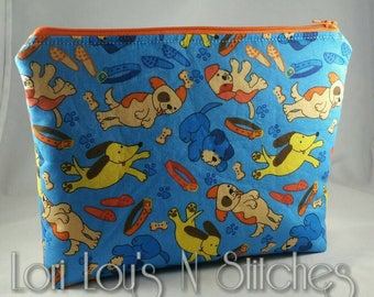 Zipper Pouch Dogs Blue and Orange 7x9