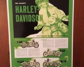 Vintage Harley Davidson motorcycle reproduction poster