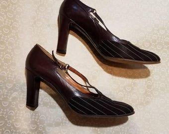 1950's De Vino of Spain brown pinstriped leather heels