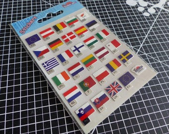 Overall stickers decals Gift mirror - world flags