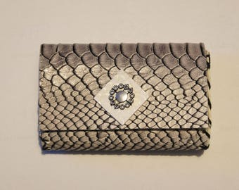 Faux leather - small silver python wallet