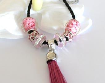 Bracelet with tassel pink pandora style