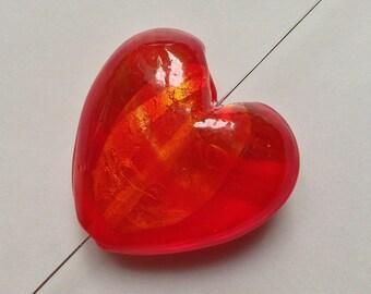 35 TRANSPARENT Silver Gold Red 6 mm heart LAMPWORK glass LAMPWORK BEAD