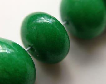 lot 6 jade beads round 12mm Green donut /16/