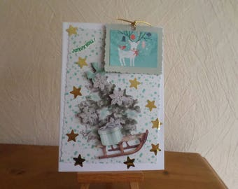 greeting card with Christmas tree, sled and 3D gift box