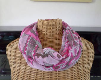 snood scarf in shades of pink and Brown