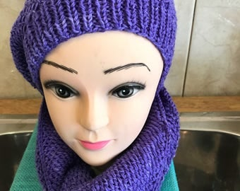 Cowl Snood and Slouchy beanie knitted Acrylic