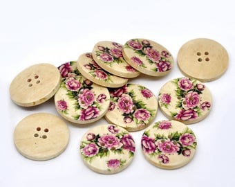 Set of 5 wooden pink flower buttons