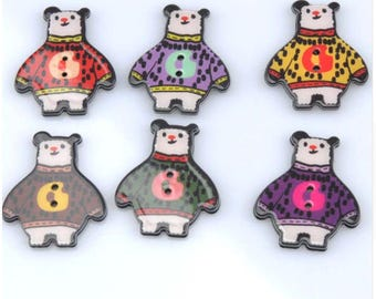 Set of 5 resin bear with sweater buttons