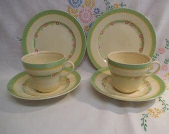 Two Pretty New Hall Cup, Saucer, Tea Plate Trios - c 1930's