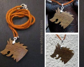Solid wood fretwork Wolf 2 pendant