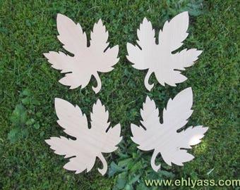 4 coasters / trivets (fretwork) solid wood maple leaf