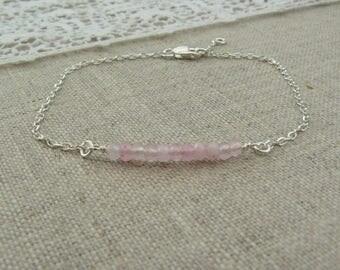 Sterling silver bracelet 925, faceted agate gems, pink.