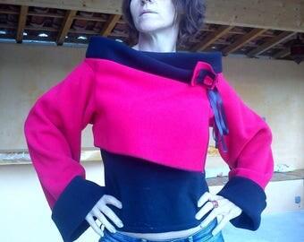 Fleece reversible Bolero black and Red