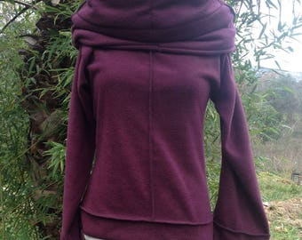 """Sweater fleece the other side has 1 plum stitching Black 2 """"Long"""""""