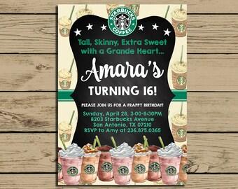 Starbucks Invitation * Starbucks Birthday Invite * Coffee, Latte, Frappy Birthday Party Invitation * Personalized * YOU PRINT