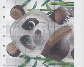pattern to knit or crochet design with a panda