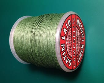 2 meters of natural linen satin CAMPBELL brand ' S, color green