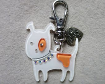 White/orange dog keychain