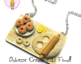 Necklace set - Donuts preparation - krapfen - handmade gift