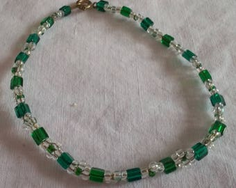 Crystal and green Beads Bracelet