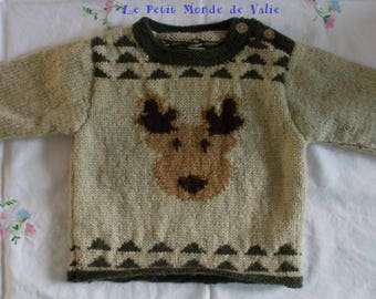 Boy 1 year sweater beige pattern René