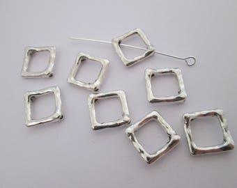 8 cadre à perle carré en métal argenté brillant 16 x 12 mm