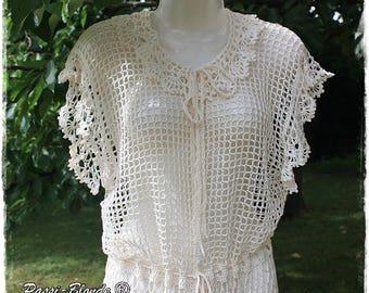 Long hippie vest ecru color crochet vest size M size