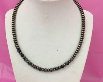 Unique Silver Beaded Necklace L175