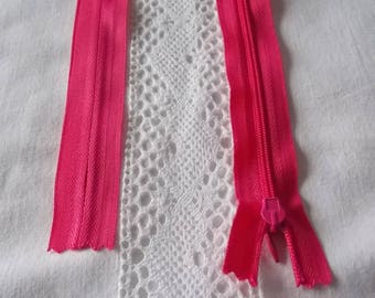 Invisible zipper 35 cm non detachable hot pink