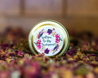 Will You Be My Bridesmaid 2oz Petite Soy Wax Candle Tin | Engagement | Wedding Favour |  Bridesmaid Gift | Fraganced