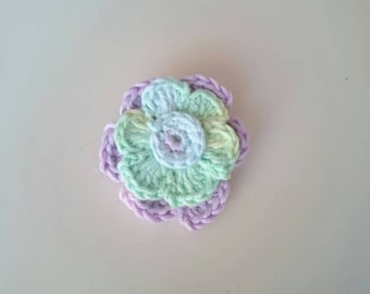 Crochet flower brooch, crochet flower, brooch