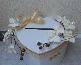 Urn wedding heart - Blanche Ivoire and gold