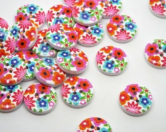 8 Wooden Bright Floral Print 4 hole Buttons 15mm