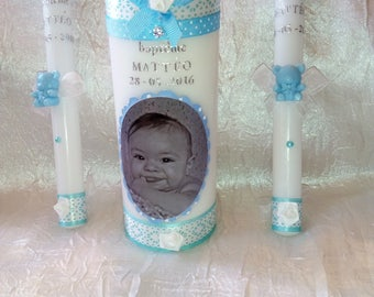 Candles for baptism or communion Photo + 2 candles