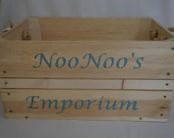 Rustic, Untreated Wooden Apple Box with lettering