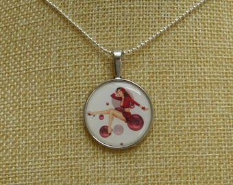 Red sexy lady cabochon necklace