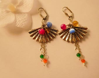 Fan and 3 multicolored beads earrings
