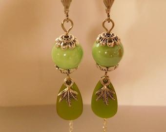 Bohemian green ceramic porcelain bead earrings