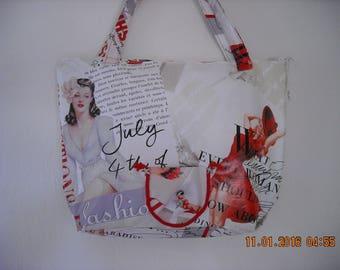 vintage fashion, coated canvas bag