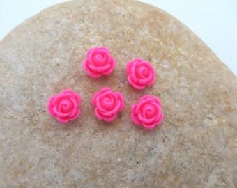 Set of 5 half pearls, cabochon resin flower paste pink