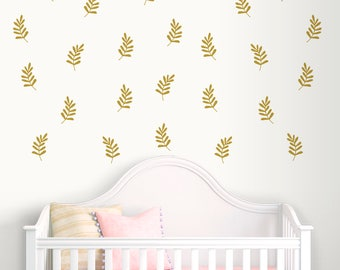 Black Leaf Wall Decals-Leaves Wall Decal-Nursery wall decals-Dorm decor-Decals for bedroom-Nursery vinyl Decals-Pattern wall decals