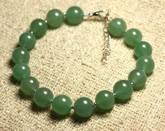 Bracelet 925 sterling silver and gemstone - Aventurine green 10mm