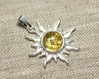 Pendant 925 sterling silver and stone - 28mm Sun - yellow amber round 10mm