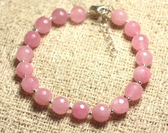 Bracelet 925 sterling silver and stone - 8mm faceted pink Jade