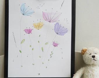 Illustration/watercolor original imaginary flowers for decoration kids room