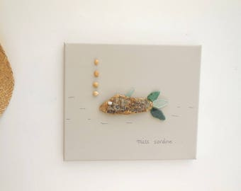 Canvas 3D Miss sardine driftwood and sea glass